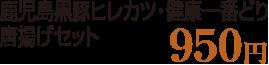 鹿児島黒豚ヒレカツ ・健康一番どり唐揚げセット 950円